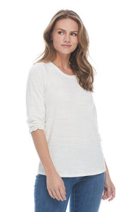 Crew Neck Top with Smocked Hem Sleeves