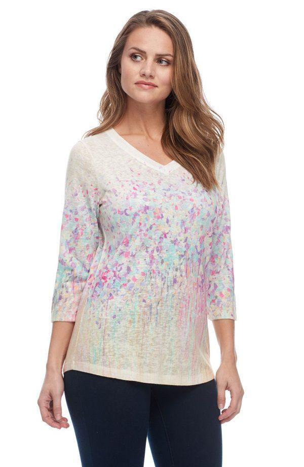 Field Flowers Print V-Neck Top