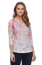 Load image into Gallery viewer, Floral Print Notched Crew Neck Top