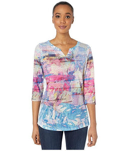 Kaleidoscope Print Notched Crew Neck Top