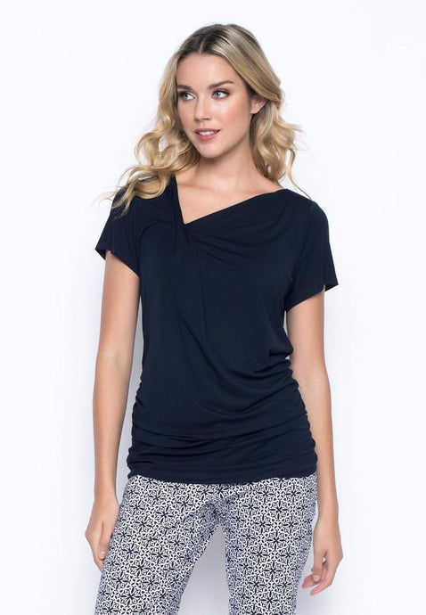 Picadilly - Short-Sleeve Side-Ruched Asymmetrical T-shirt - MR294 - Elegant Steps