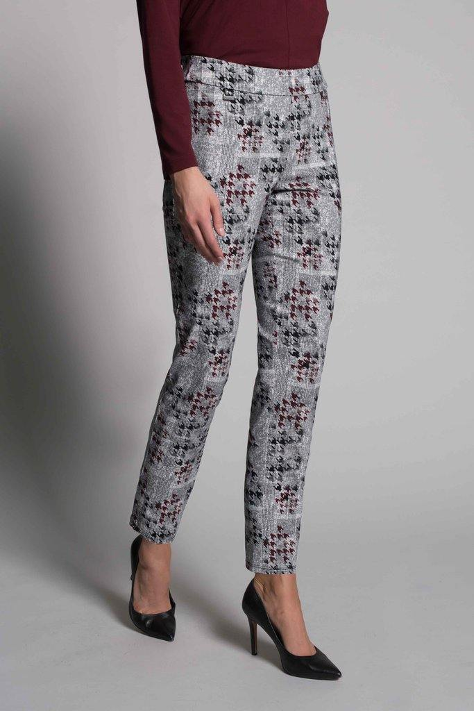 Houndstooth Print Pull-On Straight Leg Pants