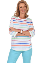 Load image into Gallery viewer, Colourful Stripe Top with Back Button Detail