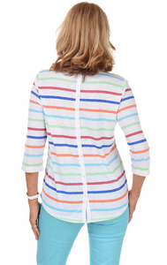 Colourful Stripe Top with Back Button Detail