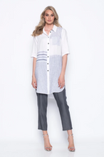 Load image into Gallery viewer, Stripe Combo Shirt With Curved Hem