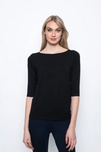 Load image into Gallery viewer, ¾ Sleeve Boat Neck Top