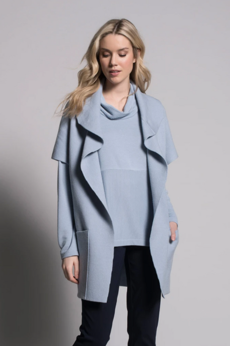 Draped Collar Sweater Jacket With Pockets - Elegant Steps