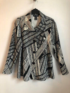 Black and Ivory Print Button Front Swing Jacket - 21228