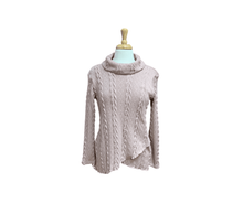 Load image into Gallery viewer, Layered Cable Knit Sweater with Cowl Neck