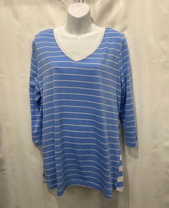 V-Neck 3/4 Sleeve Stripe