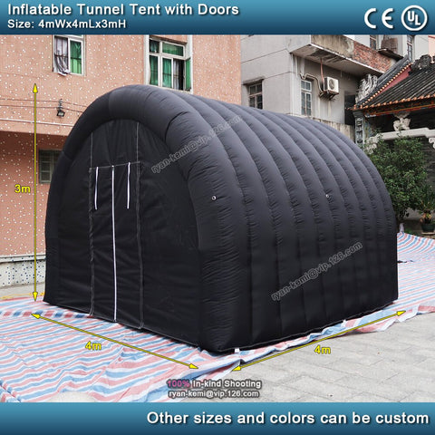 4mLx4mWx3mH black inflatable tunnel tent