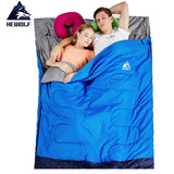 Hewolf 220*145cm Double #Sleeping Bag 3 Season #Outdoor #Camping #Hiking #Tent Envelope #Sleeping Bags Couple Lover #Camp Sleeping Gear