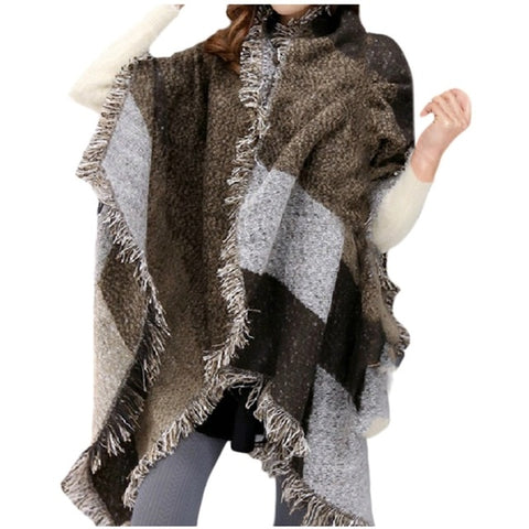 women winter knitted Shawl cashmere scarves shawls Women Contrast Color Tassel Scarf Retro Female Multi-Purpose Shawl Scarf