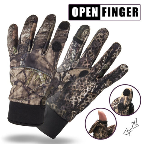 Touchscreen Camouflage Fishing Gloves Camping Hunting Gloves Anti-Slip 2 Fingers Cut Cycling Half Finger Camo Fishing Gloves