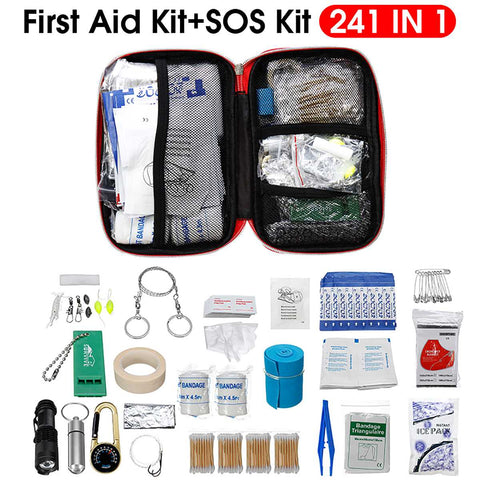 241Pcs/Set SOS Emergency Camping Survival Equipment Outdoor Gear Tactical Tool First Aid Kit Lightweight Versatile Portable