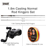 Kingdom King Pro Combo Carbon Fishing Rod Spinning/Casting Rod&Reel&Free Line 2/3/4 Section Lure Feeder Rod For Winter Fishing