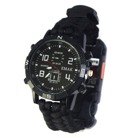 Outdoor Camping Survival Watch Rechargeable 2KM Infrared SOS LED Light Flashlight Compass Whistle Reflector Survival Gear