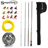 Sougayialng 2.7M #5/6 Fly Fishing Rod Set 4 Section Fly Rod and Fly Reel Combo with Fishing Lure Line Bag Set Fishing Rod Tackle