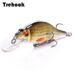TREHOOK 4g/11g/22g Black Minnow Wobblers Pike Fishing Lure Artificial Bait Hard Swimbait Mini Crankbaits Fsihing Tackle Lures