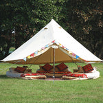 Outdoor Waterproof Luxury 4M Cotton Canvas Bell Tent With Stove Hole For 3-5 Persons Traveling Hotle Glamping