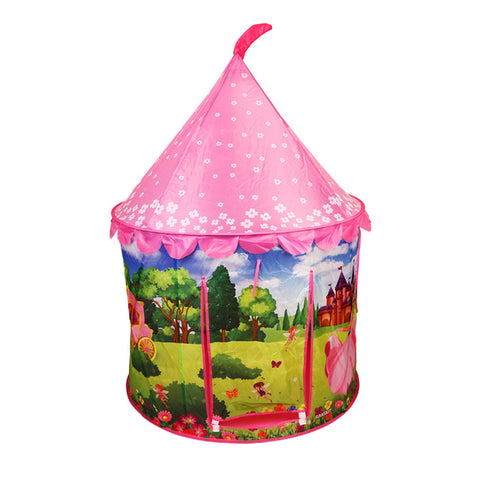 Pop Up Camping Tent Portable Castle Playhouse Outdoor/Beach Tent for Kids Indoor Tent with Handbag Toys for Girls Pink Princess