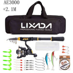 Lixada Telescopic Fishing Rod Combo and Reel Full Kit Spinning Fishing Reel Gear Pole Set 100M Fishing Line Lures Hooks Jig Head
