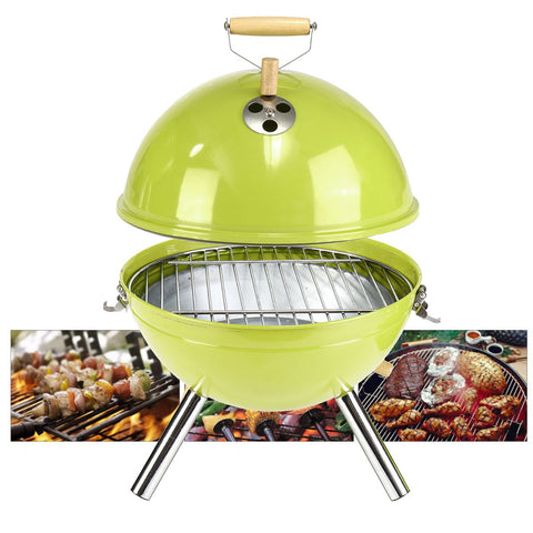 30x44cm Portable Iron Kettle BBQ Grill Outdoor Camping Travel Charcoal Stove With Vent BBQ Accessories Coing Tools Green