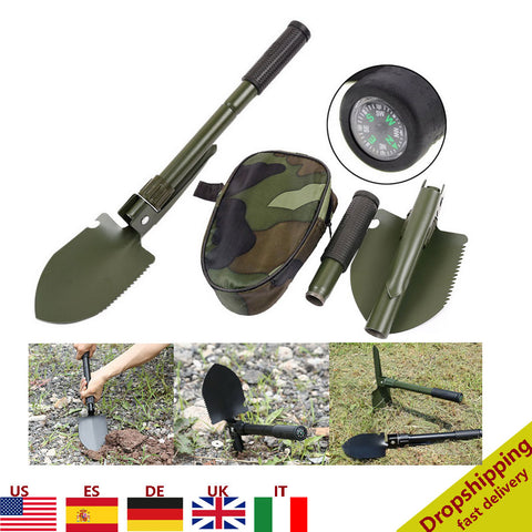 Portable Folding Shovel with Compass Multifunction Stainless Steel Survival Spade Hiking Camping Outdoor Emergency Survive Tool