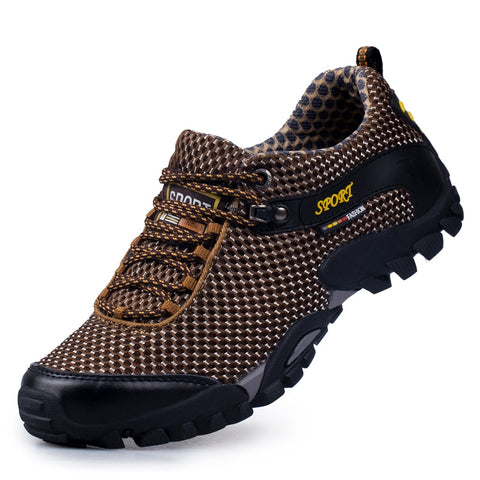 Newest Genuine Leather Men Sneakers Mountain Trekking Shoes Non Slip Rubber Sole Sports Camping Tracking Shoes Outdoor Man Boot
