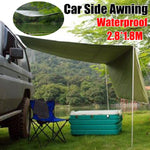 2.8x1.8M Foldable Car Sunshade Tent+Pole Waterproof Outdoor Travel Beach Camping Roof Top Tent Anti-UV Car Canopy Sun Shelter