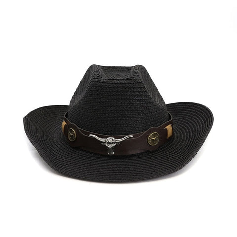 HOAREE Men Hat Cowboy Western Straw Panama Hat Belt Cow Decorate Wide Brimmed Hats For Summer Khaki Male Hat 2020 New Arrival