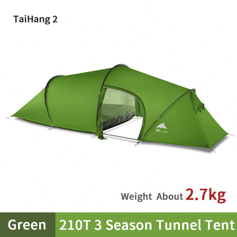 3F UL GEAR 15D Tunnel Tent Waterproof 5000mm Double Layer Ultralight 2 Persons Camping Tent Outdoor Travel Tent With free Mat
