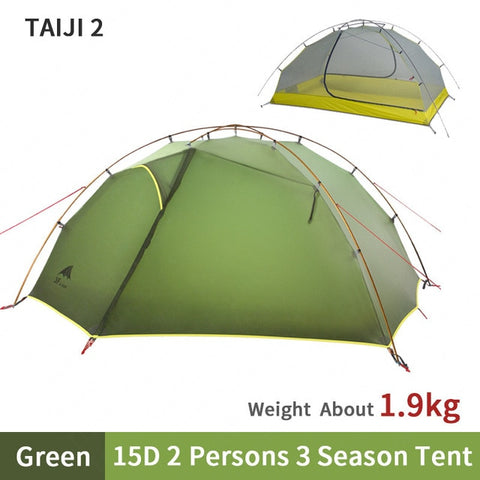 3F UL GEAR Tent 2 Persons Windproof and Rainproof Camping Tent 15D Silicone Ultralight Outdoor HIking Travel Tent With free Mat