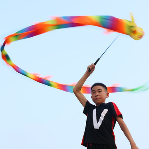 Fitness Colorful Streamer Dragon Children Adult Dragon Dance Performance Ribbon Outdoor Sports Fun Toys Games Group Activities