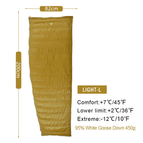 AEGISMAX LIGHT Series Outdoor Ultralight Camping Envelope Goose Down Splicable Sleeping Bag