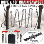 48 Inch Double Sided Saw Chain Tool High Reach Rope 65 Sections 62 Blades Cutter Kit Outdoor Wood Cutting Camping Tool