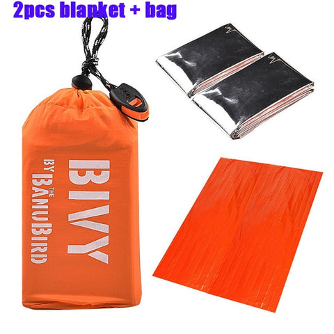 2/3 pcs/set Outdoor Emergency Sleeping Bag Thermal Keep Warm Waterproof Mylar First Aid Emergency Blanket Camping Survival Gear