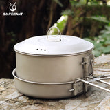 EDC Titanium Pot And Frying Pan Combination 2 Piece Set Outdoor Large Camping Cookware With Folding Handle For Travel Bushcraft