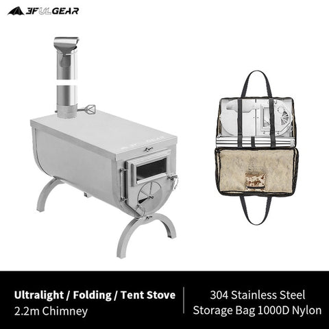 3F UL GEAR Outdoor ultralight 304 Stainless wood stove multipurpose camping tent heating stove outdoor survival