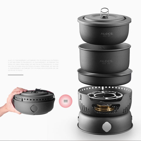 Outdoor Portable Kitchenware Set Utensil Camping Stove Pot Outdoor Bowl Camping Pan Alcohol Stove Hiking Picnic Cooking