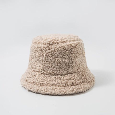Women Hat Solid Artificial Fur Warm Female Cap Faux Fur Winter Bucket Hat for Women Outdoor Sunscreen Sun Hat Panama Lady Cap