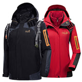 2020 Men Women  Winter 3in1 M-6XL Outdoor Jackets Waterproof Camp Hike Trekking Climb Ski Fish Fleece Hood Euro Oversize Coat