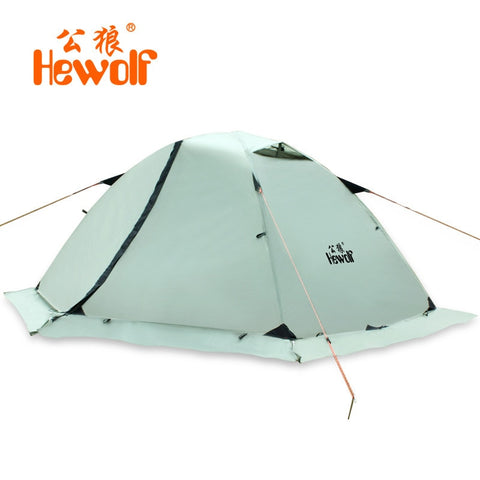 Hewolf Super Strong Double Layer Aluminum Pole 2 Person Waterproof Ultralight Tent with Snow Skirt/4season Better Use In Winter
