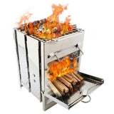 Upgraded Outdoor Camping Firewood Stove Suit Wood Stove Adjustable Cooking Burning Wood Outdoor Picnic Stove Folding D9T4
