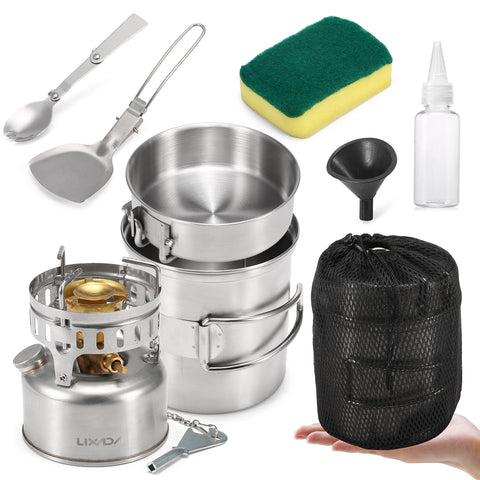 Lixada 9pcs Stainless Steel Camping Cookware Mess Kit with Gasoline Stove Cooking Pot Pan Spork Scoop Cleaning Sponge Oil Bottle