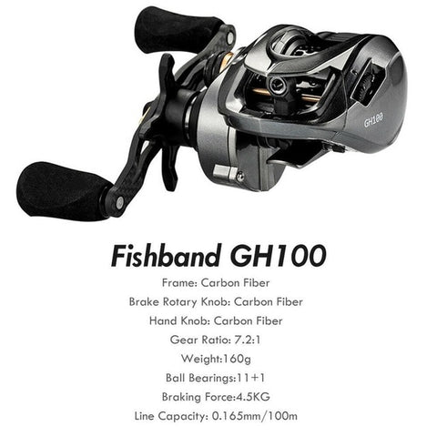 Fishing Reel All Metel Spool Spinning Reel Winter Fishband Baitcasting Reel 7.2: 1 Carp Bait Casting Reel Fishing Tackle