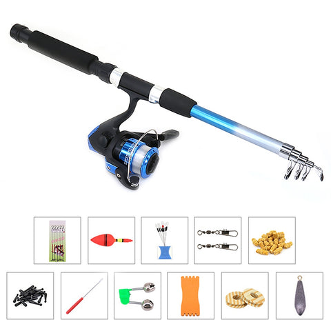 Fishing Reel Rod Combo Set Fishing Pole Spinning Reel Set with 1.8M Telescopic Fishing Rod Fishing Accessories