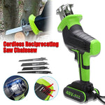 48V Cordless Reciprocating Saw Chainsaw +4 Saw Blades Metal Cutting Woodworking Electric Saw Power Tools Saw Blade US/EU Plug