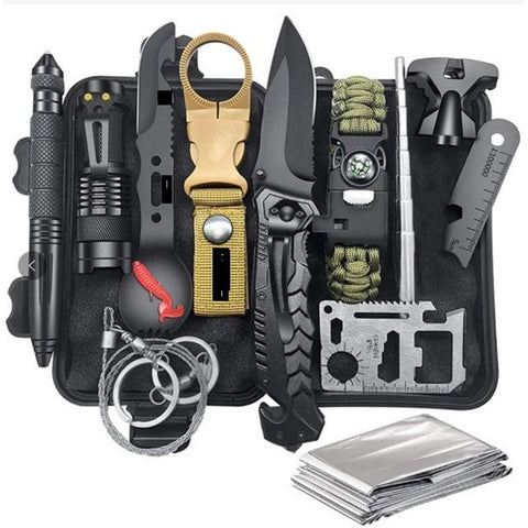 Outdoor Survival Gear Kit Military Camping Tools Emergency SOS First Aid Kit Tactical Knife Adventure Hiking Christmas Gift