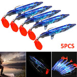 5PCS Bionic Striped Bass With Hook Luminous Package Lead Shrimp-Shaped Soft Bait Fake Lure Fishing Accessories